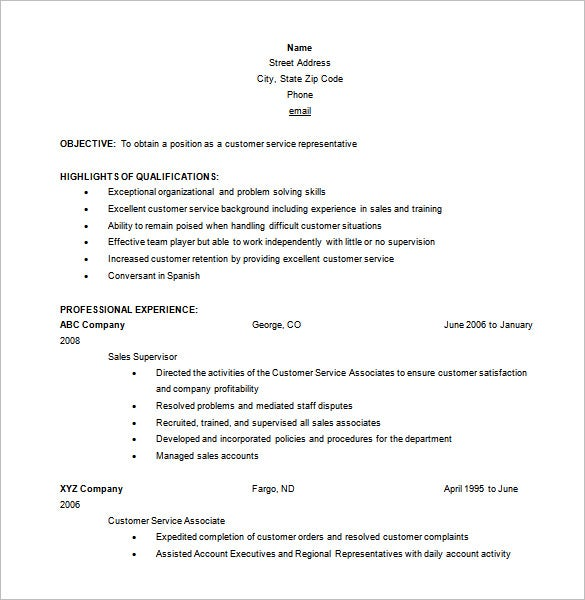 Free Customer Service Representative Resume Word