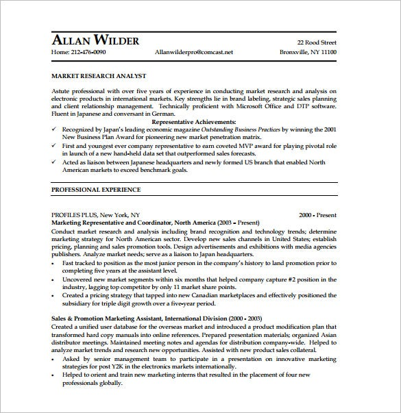 marketing research analyst resume free pdf template - Market Research Resume Sample