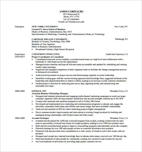 Buy side resume