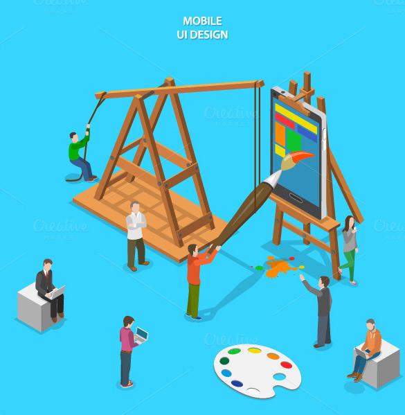 vector mobile app ui design