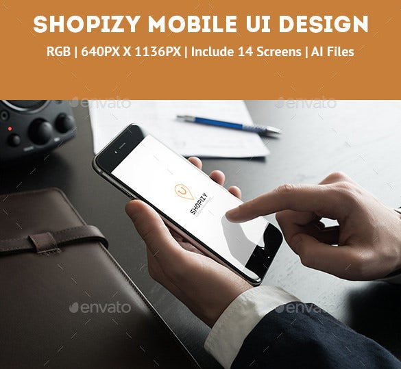 download shopizy mobile ui design illustrator