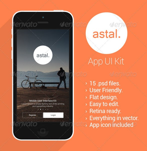 astal flat mobile ui design photoshop