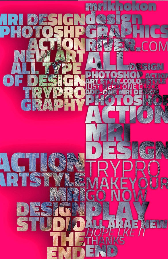 action typography poster psd download