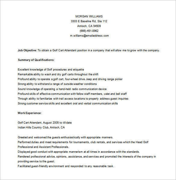 fresher golf caddy resume free word downlaod