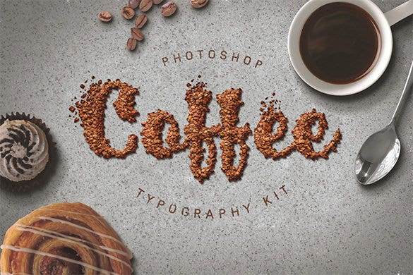 food typography psd action download