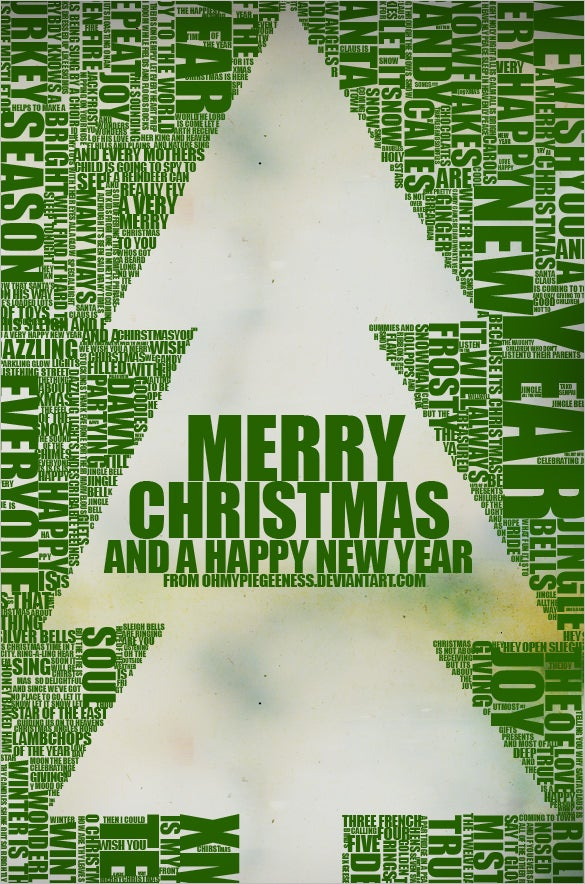 christmas tree typography design