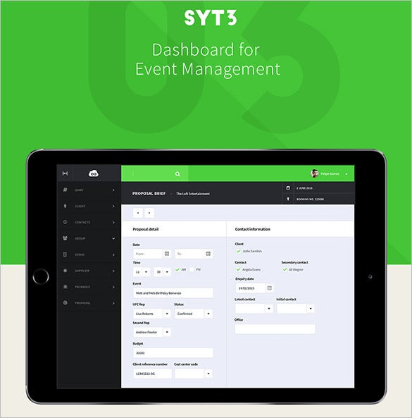 configuration dashboard event management design