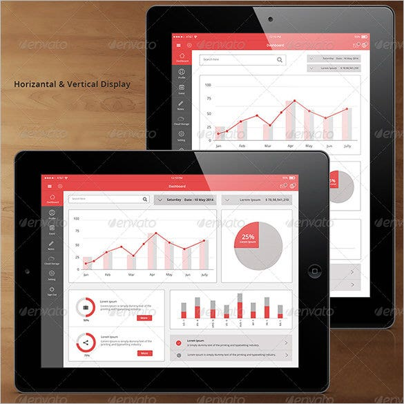 Flat Tablet And Pad App Dashboard Design