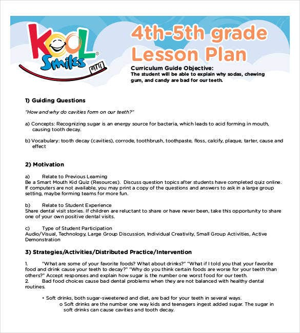 4th 5th grade lesson plan template