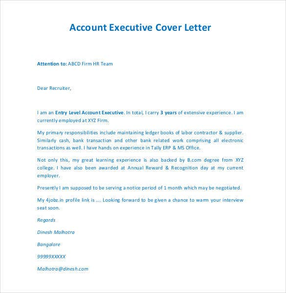 contoh cover letter account executive The sample below is for account executive cover letter this cover letter was written by resumemycareer's staff of professional resume writers, and.