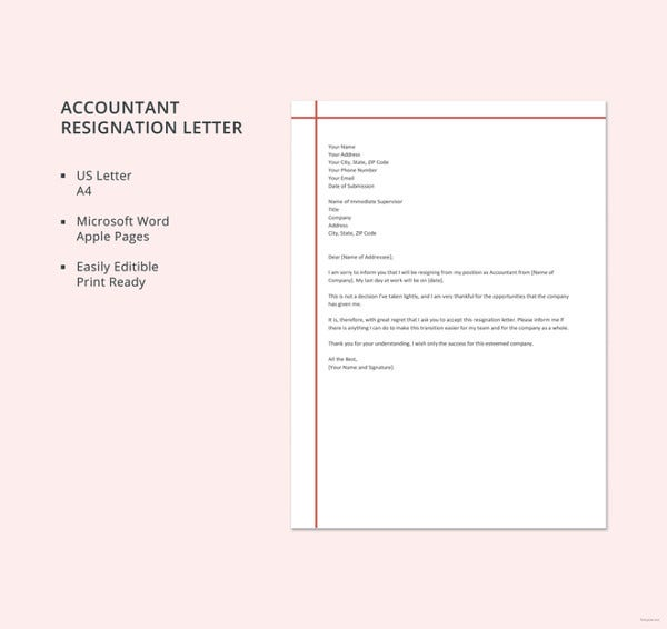 accountant resignation letter template3
