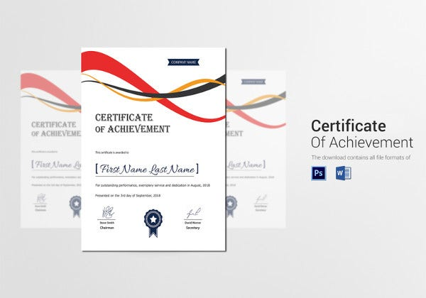 achievement corporate certificate template