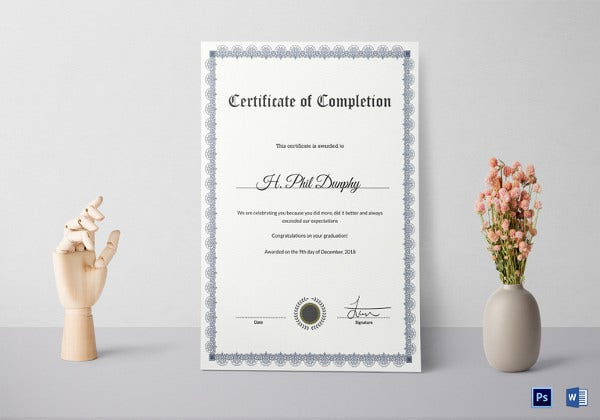 attractive formal graduation certificate of completion