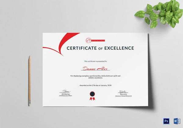 attractive physical fitness excellence certificate