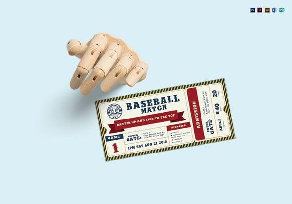 baseball ticket illustrator template