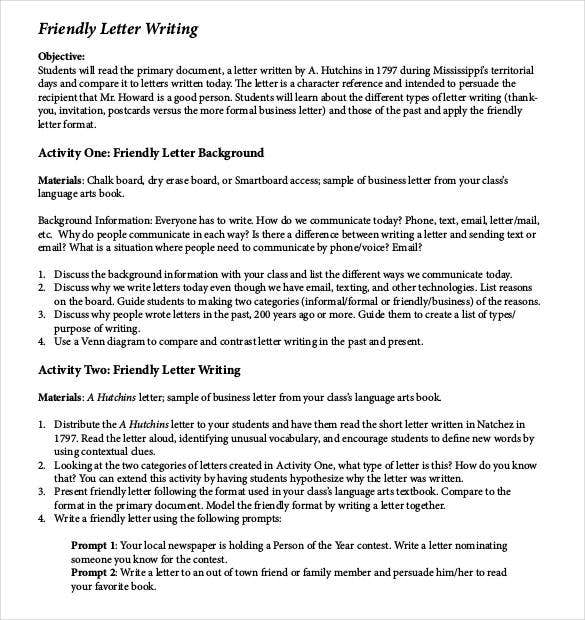 Friendly Letter Templates   Free Sample Example Format  Free