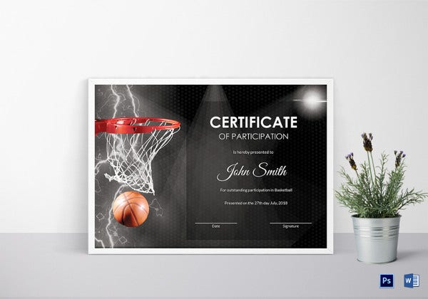 Certificate template 62 free printable word excel pdf psd basketball certificate of participation template yadclub Images