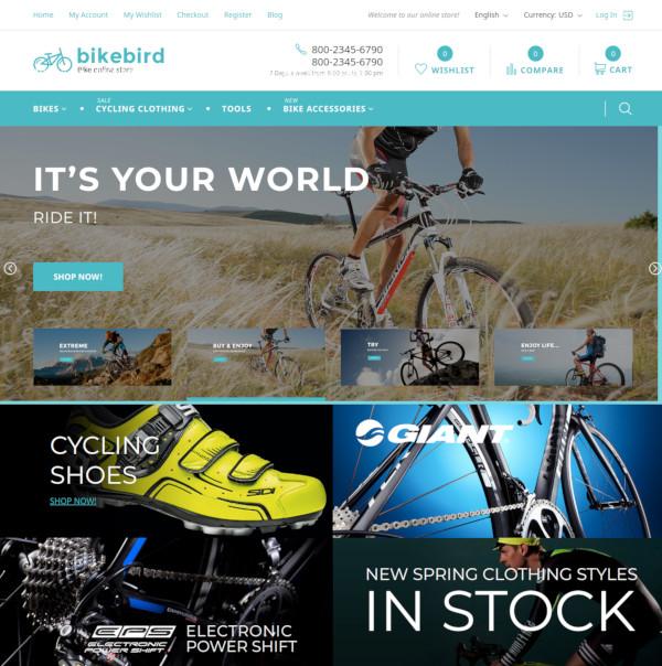 bikebird responsive bike store magento them