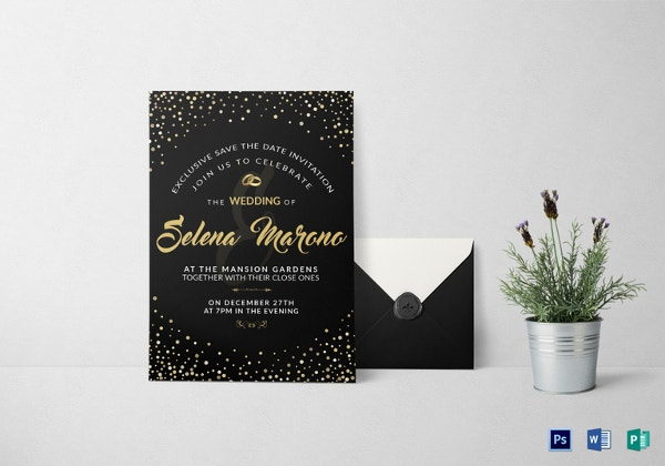 black and gold wedding invitation card template
