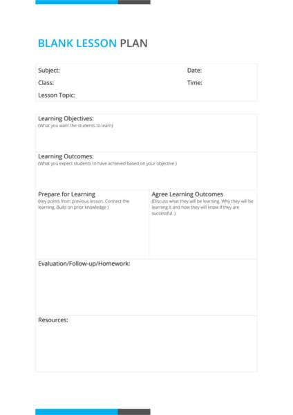 Daily Lesson Plan Template Free Sample Example Format - Blank daily lesson plan template