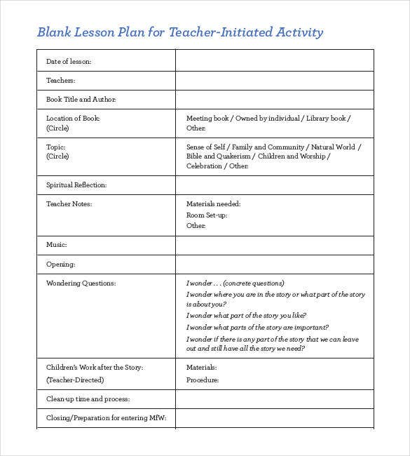 blank lesson plan for teacher