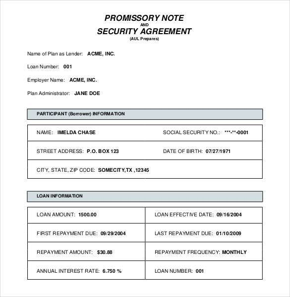 Blank Promissory Note Security Agreement Template