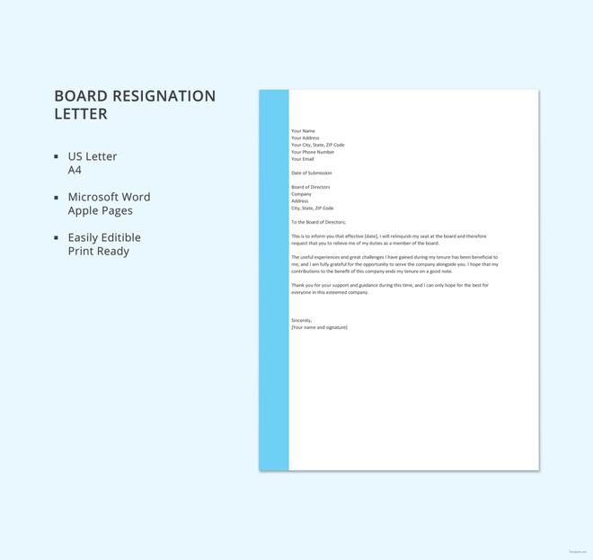 board resignation letter