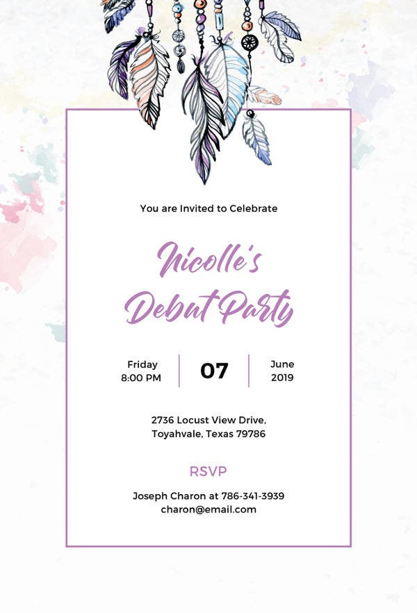 boho debut invitation template