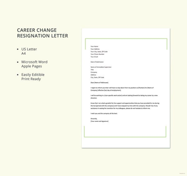 career change resignation letter template2