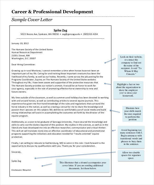 career professional development cover letter