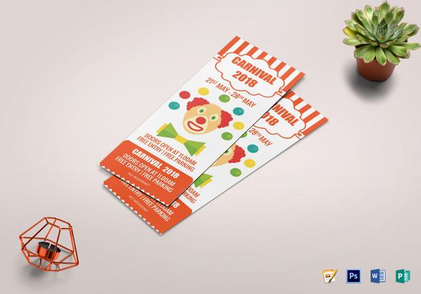 carnival invitation ticket template