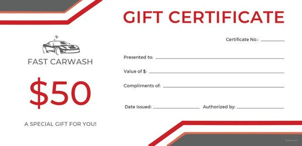carwash gift certificate template