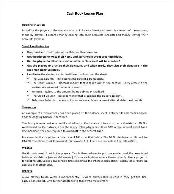 cash book lesson plan