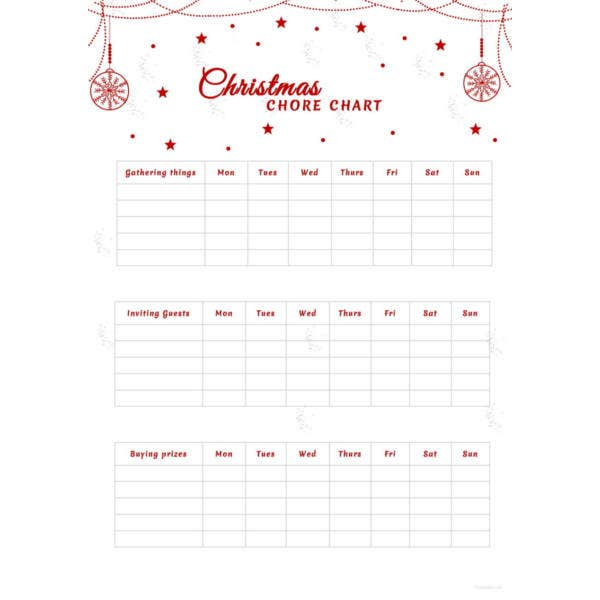 christmas chore chart template