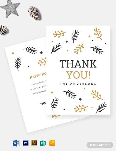christmas holiday thank you card template