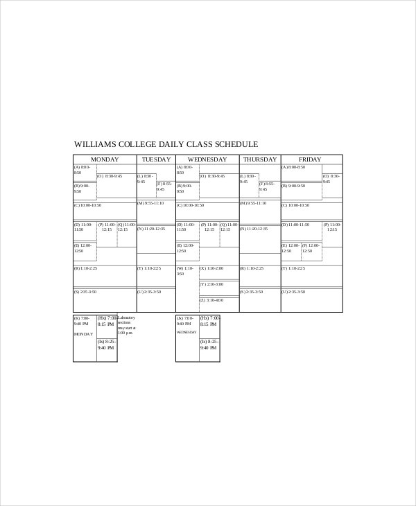 college daily class schedule1