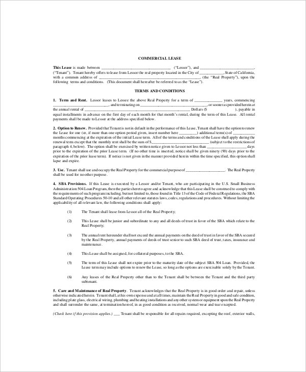 Commercial Lease Templates  Free Sample Example Format  Free