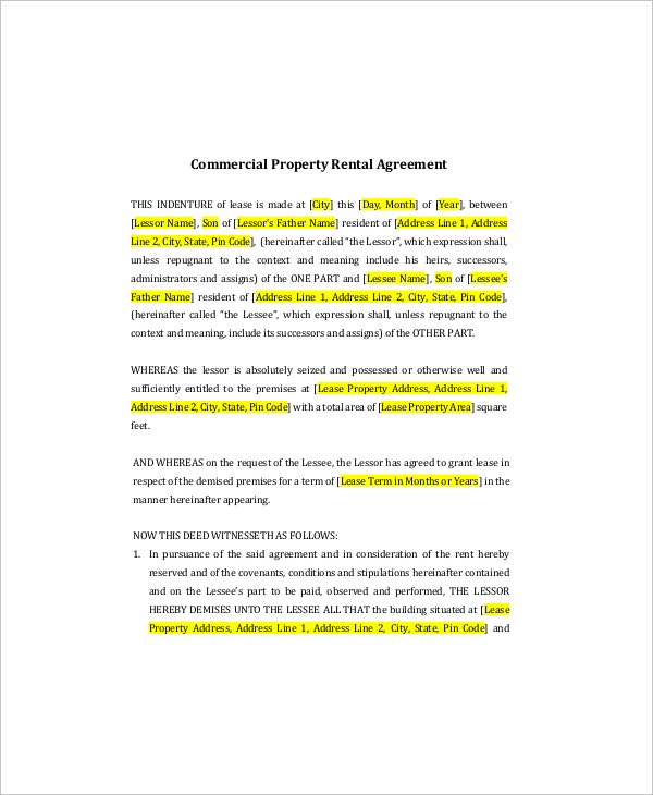 commercial property lease template2