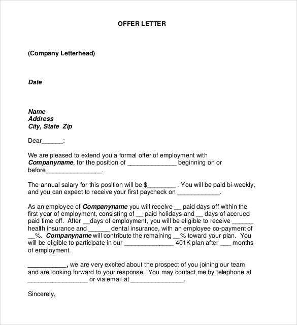 Payment Plan Offer Letter Template