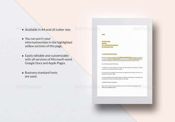 cover letter for a cost quotation template - Free Cover Letter Template Microsoft Word