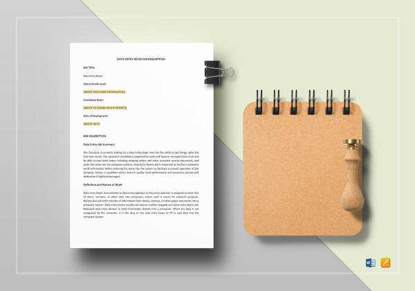 data-entry-keyer-job-description-template