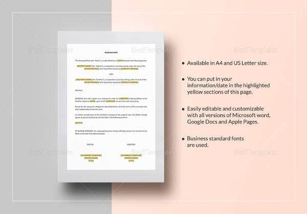easy to edit renewed note template