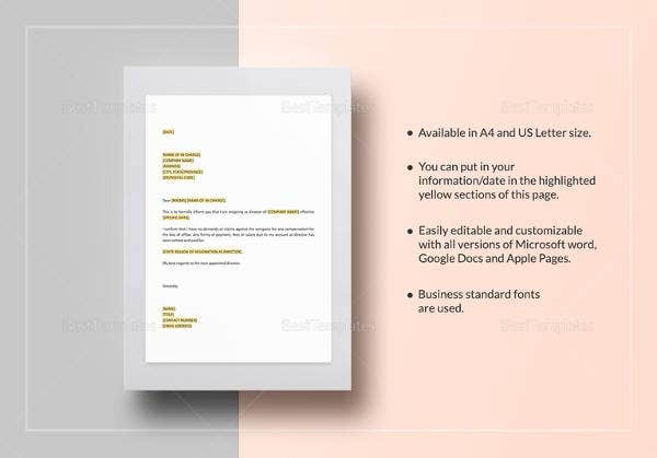 easy-to-edit-resignation-of-directorship-template