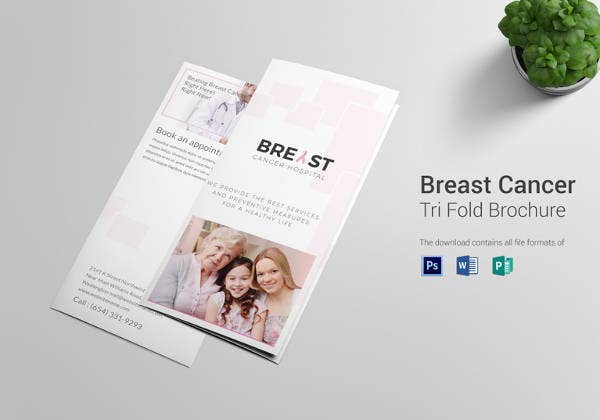 editable breast cancer tri fold brochure design