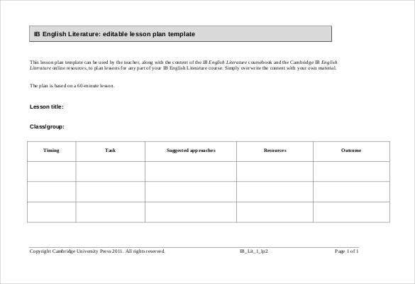 Blank lesson plan template for English lesson plan template pdf