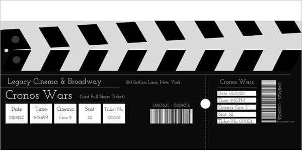 Editable Movie Admission Ticket Template  Broadway Ticket Template