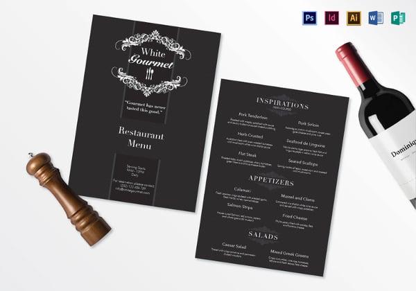 elegant menu