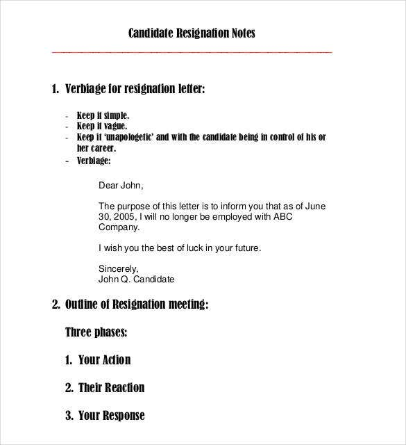 email resignation letter outline template