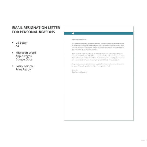 email resignation letter for personal reasons template