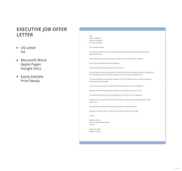 Executive Job Offer Letter Template